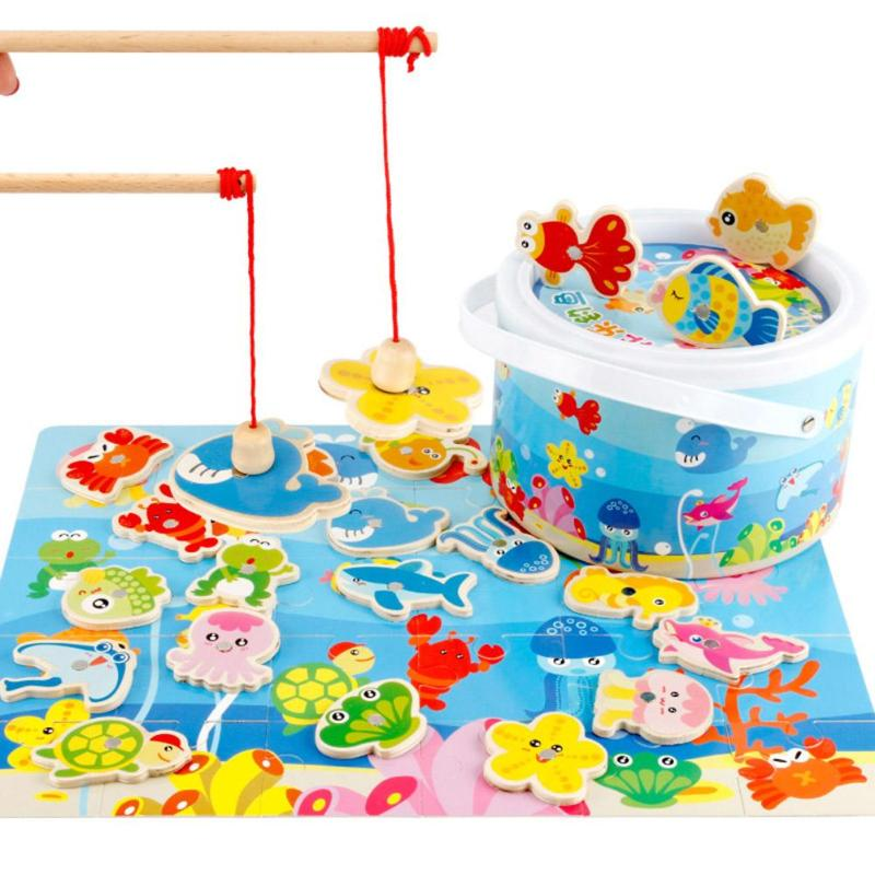 Wooden Kids Magnetic Fishing Game Toys Baby Intellectual Puzzle Jigsaw Toy Educational Outdoor Fun Sport Toy Child Birthday Gift