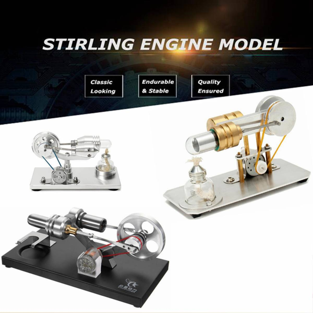 Mini Hot Air Stirling Engine Motor Model Educational Toy Kit Gift With LED Light Engine Principle Intuitive for Classroom TeachMini Hot Air Stirling Engine Motor Model Educational Toy Kit Gift With LED Light Engine Principle Intuitive for Classroom Teach