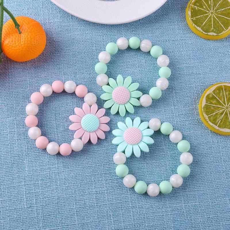 Детский Прорезыватель цветок зубные кольца для детей погремушка силиконовые бусины браслеты Силиконовый грызунок жевательные талисманы для прорезывания зубов игрушка в подарок