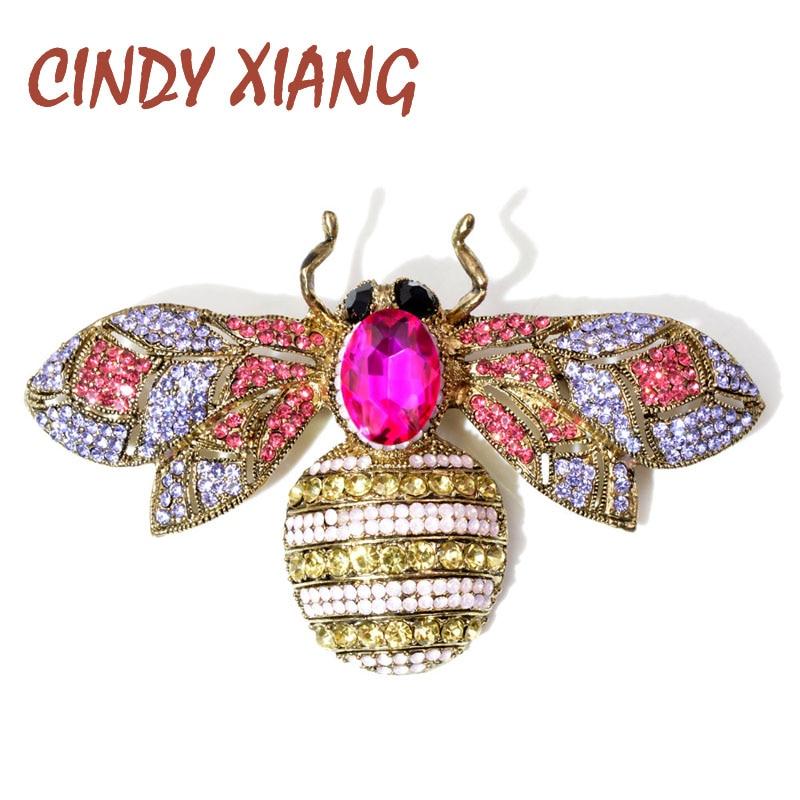 CINDY XIANG 2 Cores Disponíveis Strass Grandes Broches para As Mulheres Colorido Inseto Abelha Grande Pin Broche Vintage Jóias Bom Presente