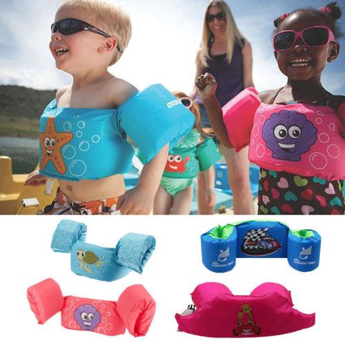 Hot Toddler Life Jacket Kids Swim Vest Arm Bands Swimming Buoyancy Aid Pool Wear Float Safe