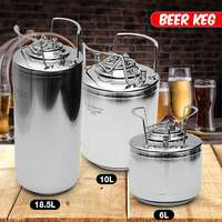 6/10/18.5L Stainless Steel Homebrew Growler Mini Keg Beer Growler Leak Proof Top Lid Beer Bottle Home Brewing Making Bar Tool