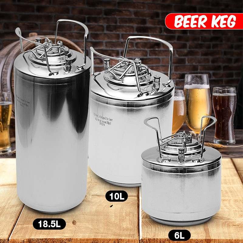 6/10/18.5L Stainless Steel Homebrew Growler Mini Keg Beer Growler Leak Proof Top Lid Beer Bottle Home Brewing Making Bar Tool