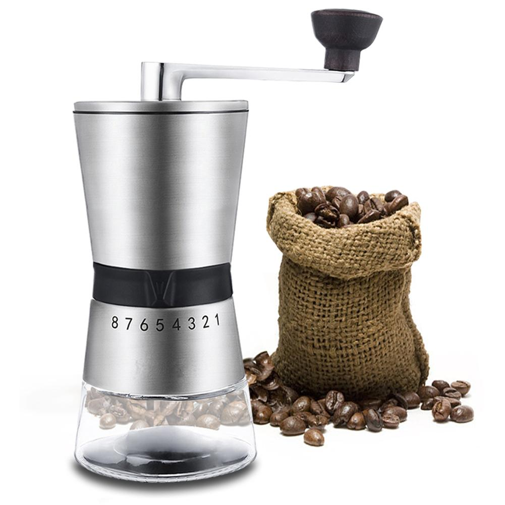 High Quality Stainless Steel Hand Crank Grinding Conical Ceramic Coffee Grinder Manual Coffee Grinder Mill With Ceramic Burrs