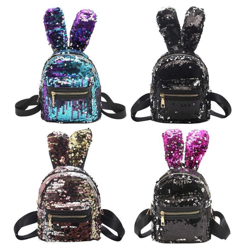 Women Sequins Backpack Cute Mini Rabbit Ears Zipper Bag Women Mini Colorful School Backpacks For Girls Kids Travel Bag Mochila