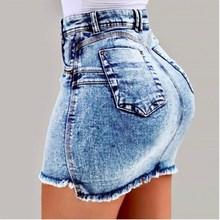 2019 Women Summer Denim Skirts Sexy High Waist Bodycon Jeans Skirt Ladies Pocket Short Mini Skirts все цены