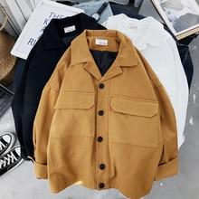 Mooirue Spring Loose Coat Woman Safari Korean Student BF With Pocket Turn-down Collar Black Yellow C