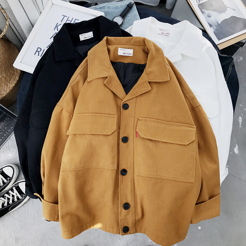 Mooirue Spring Loose Coat Woman Safari Korean Student BF With Pocket Turn down Collar Black Yellow Cotton Jackets Tops Cardigan