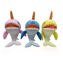 Narwhals Stuffed Baby Plush Shark Toy Built-in music Family Party Dolls Birthday New Year Gift for Kids color blue/pink/yellow(China)