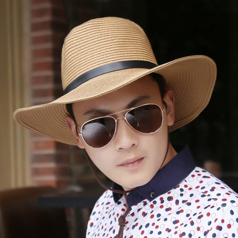 Summer Man Foldable Straw Hat Outdoors Cowboy Hat Sandy Beach Sun Hats Big Head Man Plus Size Fedora Hat 58CM 60CM 62CM(China)