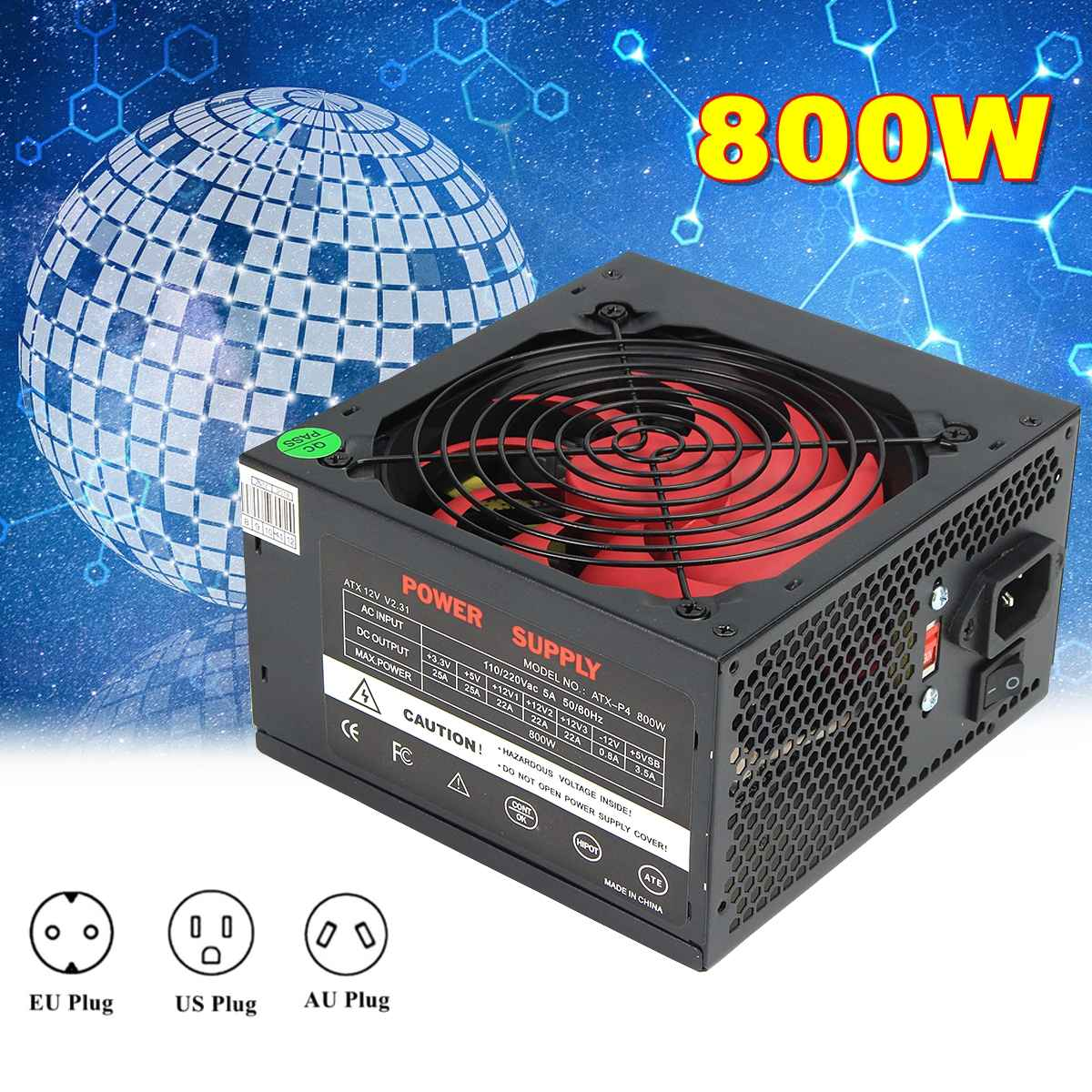 Black 800W <font><b>800</b></font> <font><b>Watt</b></font> <font><b>Power</b></font> <font><b>Supply</b></font> 120mm Fan 24 Pin PCI SATA ATX 12V Molex Connect Computer <font><b>Power</b></font> <font><b>Supply</b></font> 80+Gold image