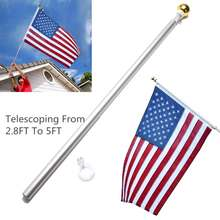 Aluminum 5FT Metal Adjustable Telescoping Flag Pole Portable Telescopic Extendable Flagpole