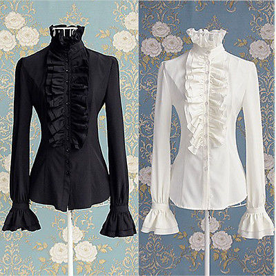 Victorian Women White Blouse OL Office Lady  White Black Shirt High Neck Frilly Ruffle Cuffs Shirt Blouse