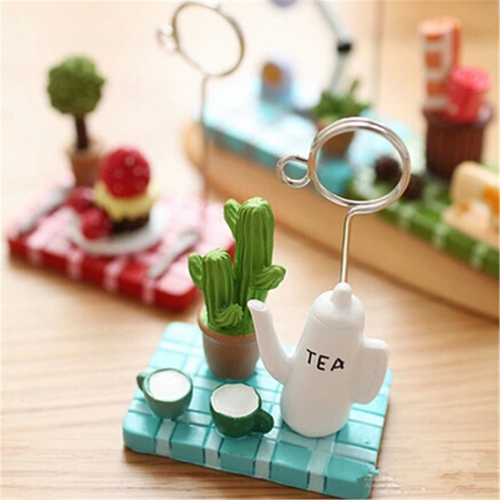 1pc Micro Landscape Card Holder Teapot Strawberry Tree Desktop Photo Memo Note Clip Kawaii Stationery Tickets Letter Holders winnie the pooh iphone case