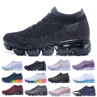 New 2018 Air Vapormax Flyknit Men's Women Max 2018 Running Shoes Sports Sneakers Outdoor Athletic Max Running Shoes 36 45