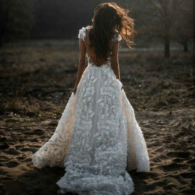 Sexy Bohemian Wedding Dress 2021 Short Sleeves Deep V Neck 3d Floral Appliques Bridal Gowns Backless Vestido De Noiva Lorie 5