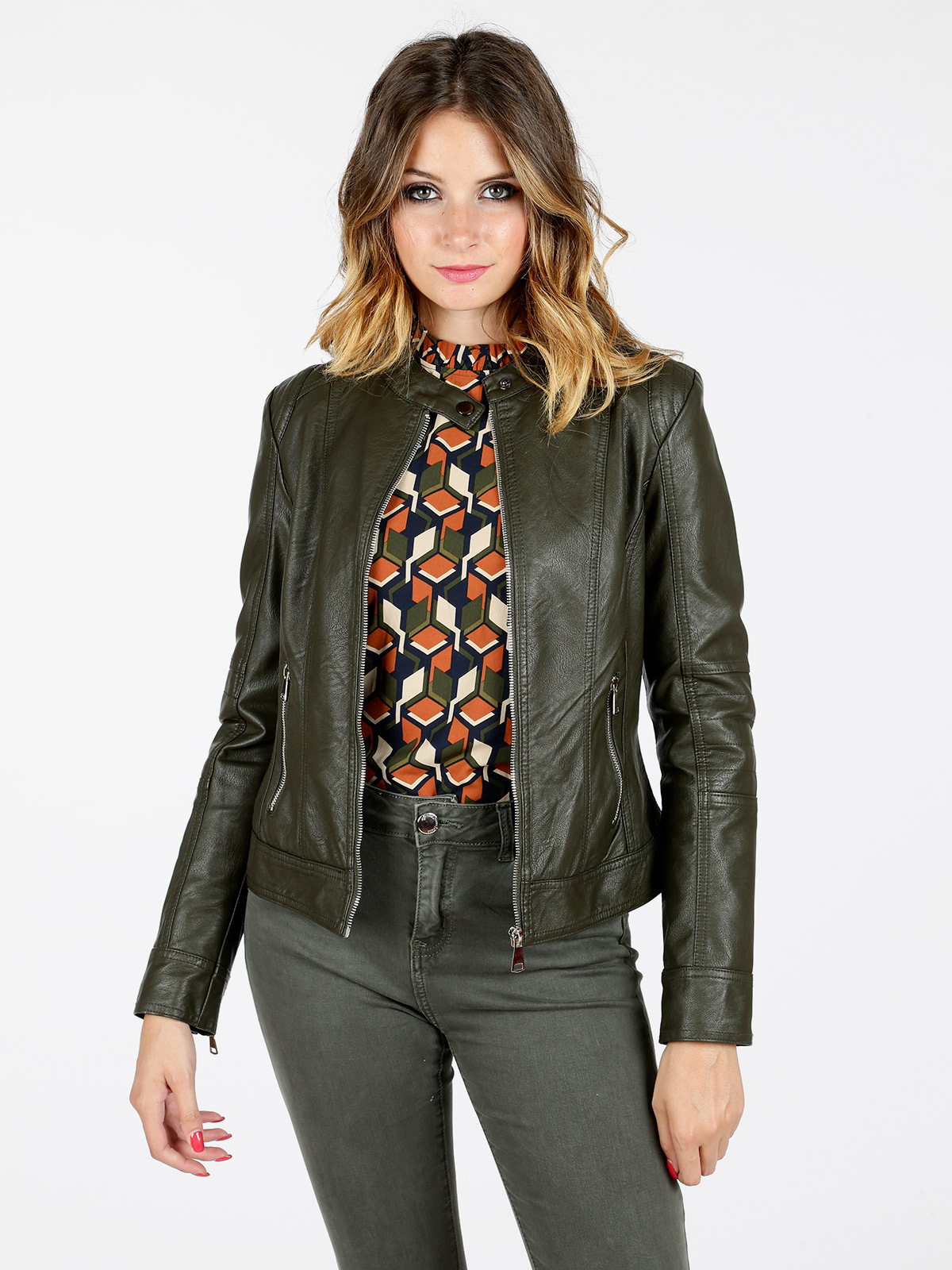 Motorsycle green faux   leather   jacket zipper coat woman
