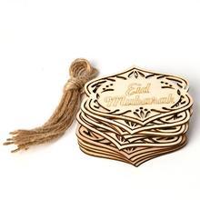 10PCS Wooden Pendant For Eid Mubarak Islamic Hanging Crafts Eid Gifts With 10 Ropes Eid Ramadan Muba