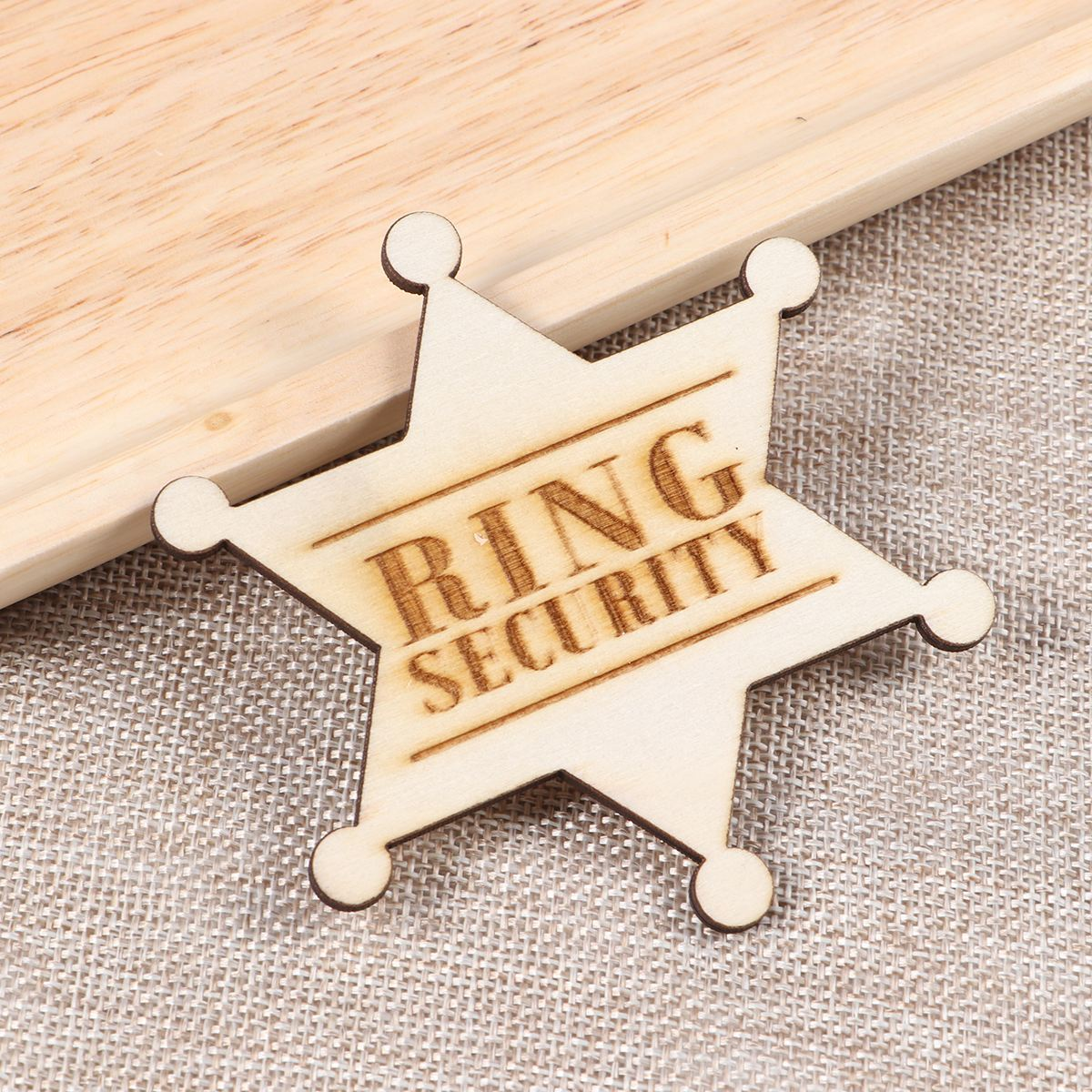Boy Decor Ring Security Badge Lettering Wedding Groom Wooden Rustic Badge Brooch Breastpin for Scarf Wedding Hat Shawl(China)