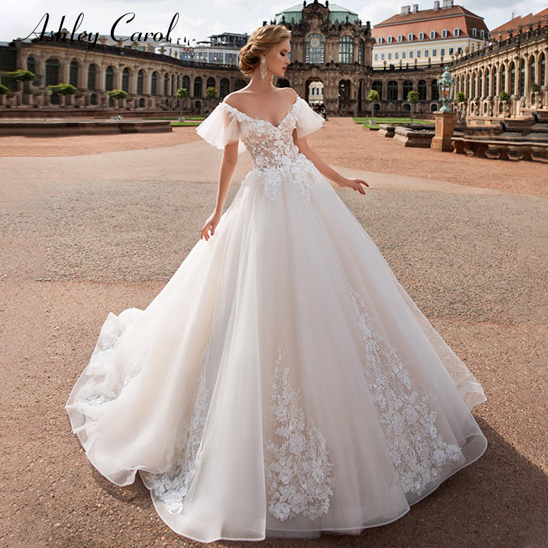 Ashley Carol Sweetheart Cap Sleeve Tulle Wedding Dresses 2019 Appliques Vintage Bride Dress Princess Romantic Wedding Gowns