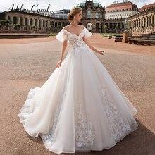 Ashley Carol Sweetheart Cap Sleeve Tulle Wedding Dresses 2020 Appliques Vintage Bride Dress Princess Romantic Wedding Gowns