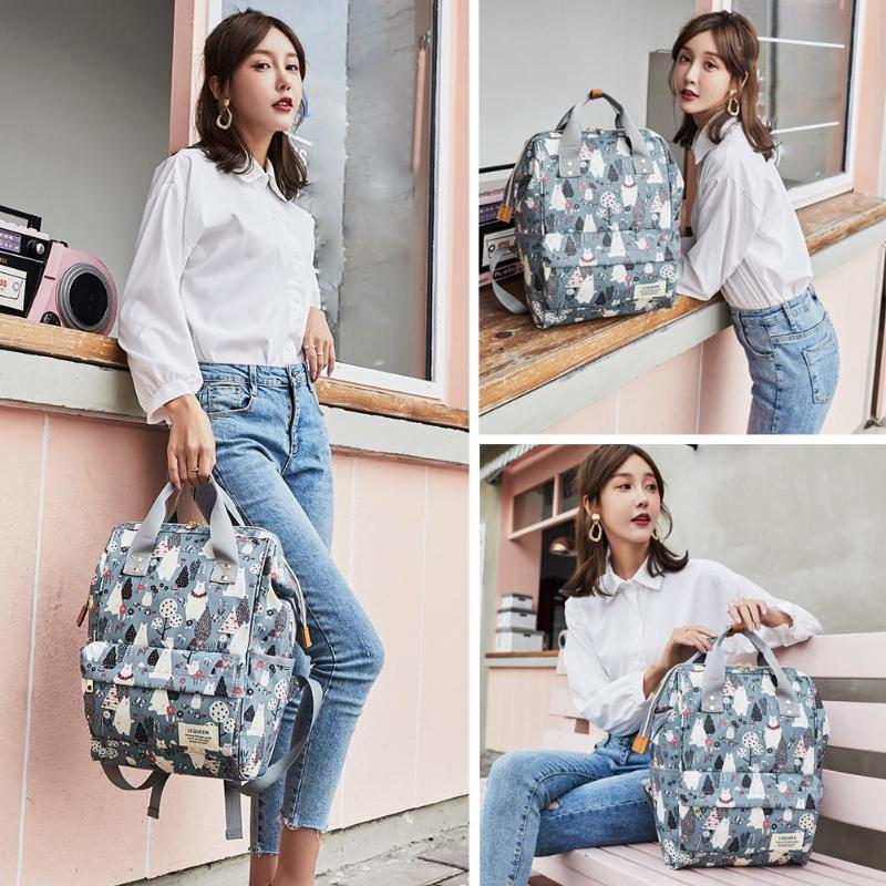 Cartoon Print Diaper Bag Backpack Large Capacity Outdoor Zipper Nursing Bag Waterproof Mummy Bag Handy Pretty Bags For Baby Care