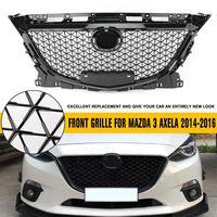 Гоночный гриль подходит для Mazda 3 Axela 2014 2015 2016 бампер передний верхний гриль ABS хром сотовый гриль черный