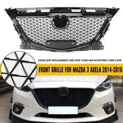 Racing grill nadające się do Mazda 3 Axela 2014 2015 2016 zderzak przedni kratka górna ABS Chrome o strukturze plastra miodu Grill czarny w Maskownice przednie i chłodnicy od Samochody i motocykle na