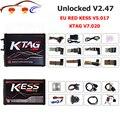 Новейший комплект для настройки Kess V2 Master Kess V2.47 V5.017 EU Red PCB No Token Limited Ecu Programming Ktag V7.020 V2.34 OBD2 Manager