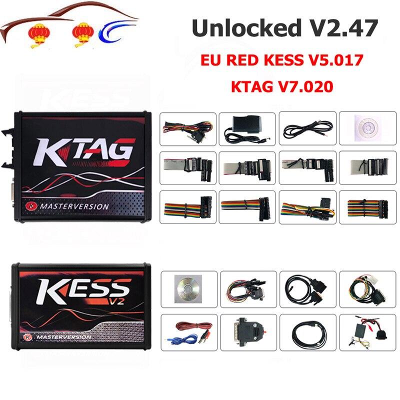 Le plus récent Kess V2 Master Kess V2.47 V5.017 EU rouge PCB pas de limite de jeton Ecu programmation Ktag V7.020 V2.34 OBD2 Kit de réglage de gestionnaire