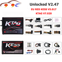 Newest Kess V2 Master Kess V2.47 V5.017 EU Red PCB No Token Limit Ecu Programming Ktag V7.020 V2.34 OBD2 Manager Tuning Kit