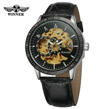WINNER Top Brand Luxury Auto Mechanical Watch Men Leather Strap Skeleton Dial Royal Classic Wristwatches for Man 2019 Fashion winner royal carving skeleton brown leather strap silver case transparent case men watch top brand luxury mechanical watch clock