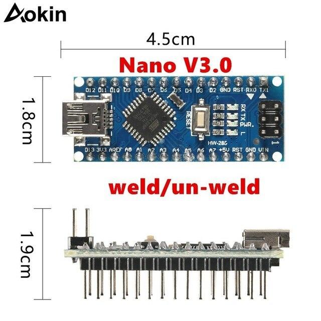 Para Arduino Nano Mini USB con cargador de arranque para Arduino nano 3,0 controlador para Arduino CH340 controlador USB 16 Mhz Nano v3.0 ATMEGA328