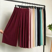 цена на New Fashion Women Wide Leg Pants Summer Elastic Waist Trousers Female Casual Loose Solid Color Pant