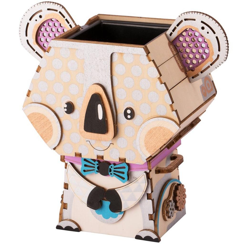 Robotime 3D Wooden Koala Puzzle Game Creative Flower Pot Storage Box Pen Holder Model Building Kit Children's Toys Adult FT732