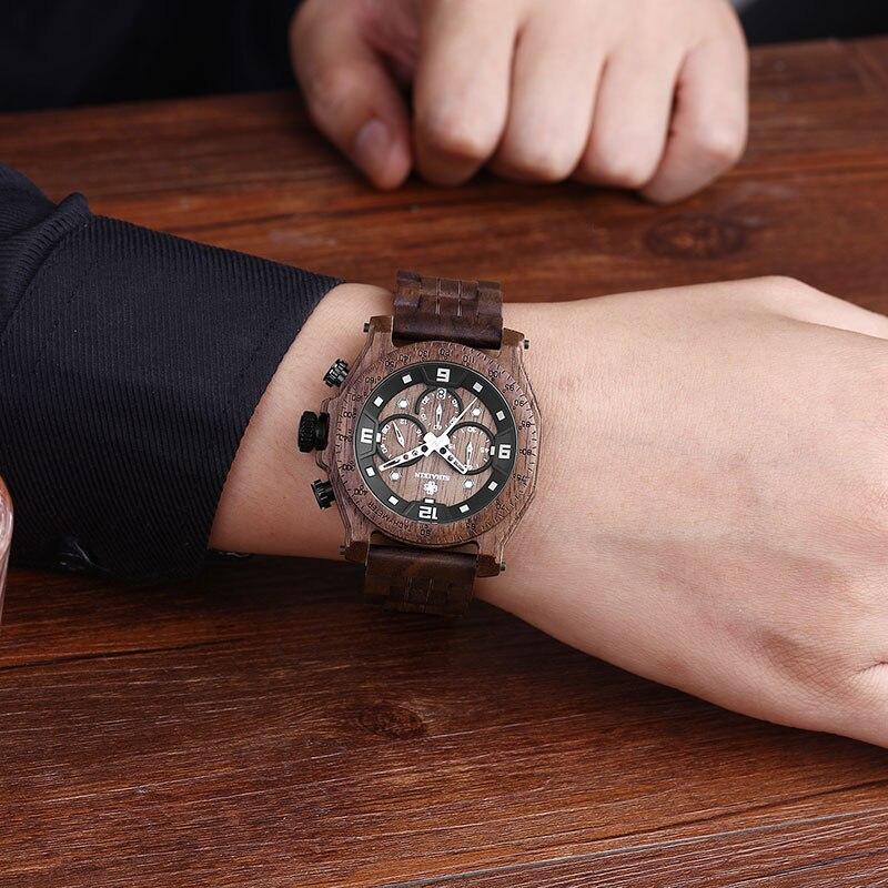 SIHAIXIN montre en bois mâle Relogio Masculino luxe élégant chronographe militaire Quartz étanche entreprise horloge hommes semaine Date - 6