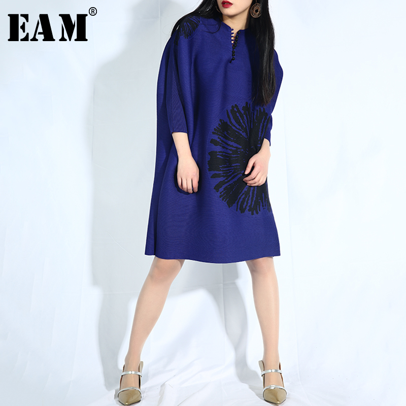 EAM 2019 New Spring Summer Stand Collar Long Sleeve Blue Pattern Printed Loose Big Size