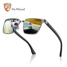 HU lunettes de soleil Temple en bois, monture métallique, verres polarisés, 4 couleurs, pour hommes et femmes, GR8037