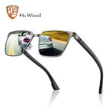 HU עץ מתכת מסגרת משקפי שמש אביב מקדש עץ עם עדשות מקוטבות ועדשות 4 צבעים ומשקפי שמש לגברים ונשים GR8037