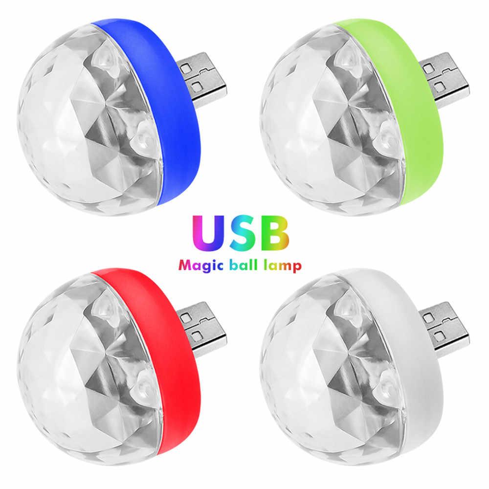 Мини USB дискотечная лампа ди-Джея светодиодный светильник кристалл магический эффект шары для выступлений лампы музыка управление мобильный телефон USB свет для дома Новый год 2019