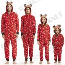 Рождественские пижамы для всей семьи; Новогодняя одежда для взрослых, женщин и детей; пижамы; Милая одежда для сна; Ночная одежда с оленем; комбинезон с капюшоном на молнии