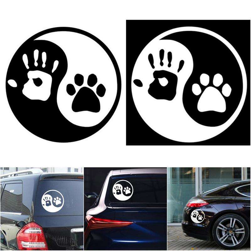 Pair 3D Car Dog Paw Print Sticker Dog Groomer Chrome Decal Emblem Silver Gold Re