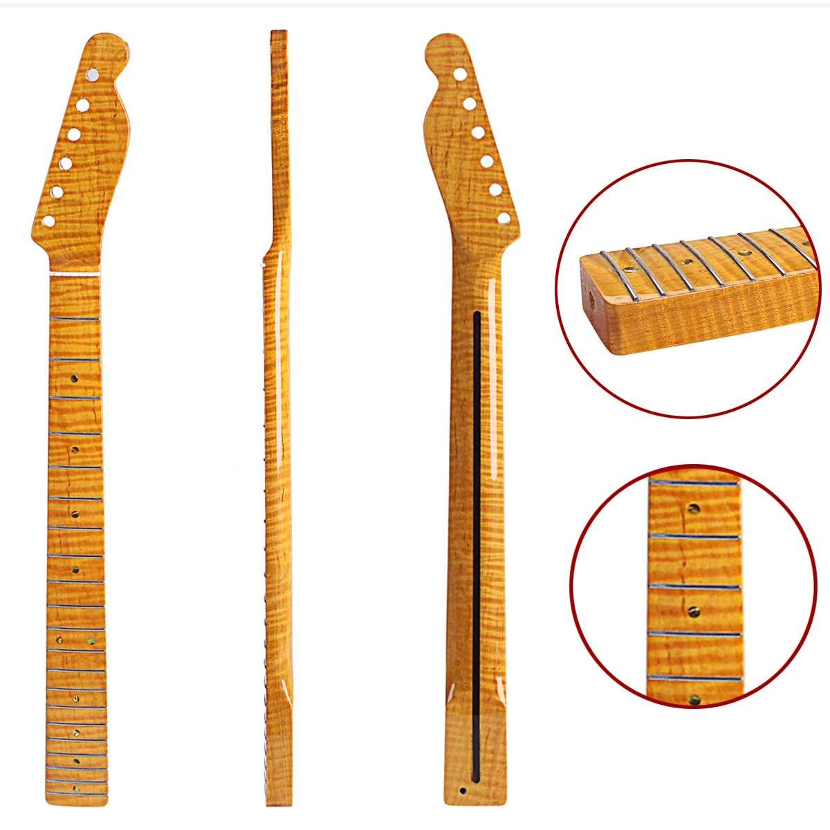 21 frette tigre flamme érable Abalone Dots naturel brillant guitare électrique cou pour TL ST guitare électrique cou remplacement