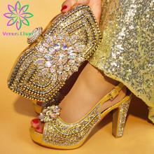 Latest Yellow Color Italian Shoes with Matching Bag African Women Italian Shoes and Bag Set Nigerian Women Wedding Shoes and Bag