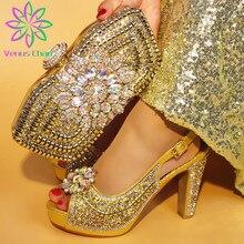 Son Sarı Renk ile İtalyan Ayakkabı uyumlu çanta Afrika Kadınlar için İtalyan Ayakkabı ve çanta seti Nijeryalı Kadınlar Düğün Ayakkabı ve Çanta