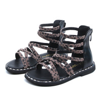 Kids Sandals 2019 Summer Girls Roman Style Holiday Beach Shoes Heel Zip Leopard Print Princess Shoe 4 5 6 10 Years