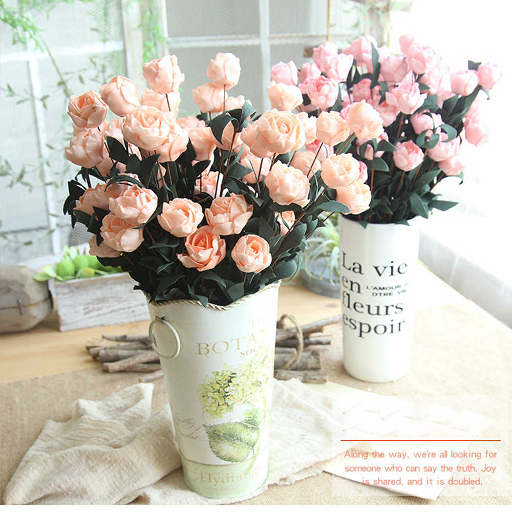 2019 1Pc 6 Branch Artificial Flowers Philip Rose Flowres Artificial Fake Rose Bridal Wedding Decor Wreath Gland Home Decoration