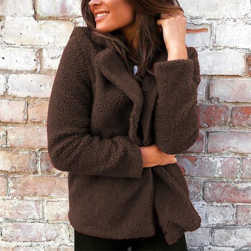 Women Casual Lapel Neck Long Sleeve Fleece   Basic     Jackets   Plush Fluffy Coats Elegant Solid Cardigan Thick Coats Femme Outwear