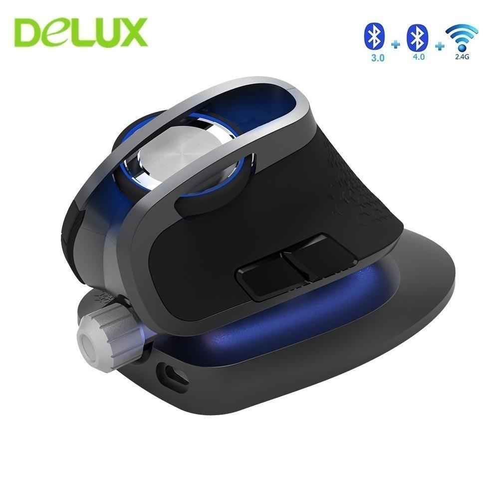 Delux m618x vertical sem fio bluetooth 3.0 4.0 mouse 2.4 ghz ergonômico recarregável laser mause 6d modo duplo usb computador ratos