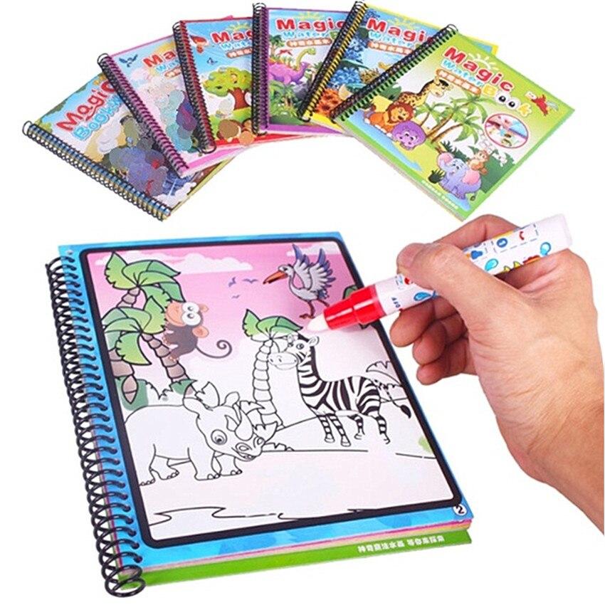 Libro de colorear Montessori Doodle y pluma mágica pintura tablero de dibujo para niños juguetes magia agua dibujo libro regalo de cumpleaños